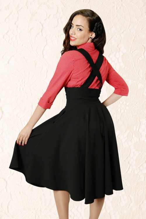 4140d70485d 30- women vintage 50s Audrey Hepburn style black high waist swing midi  suspender skirt plus