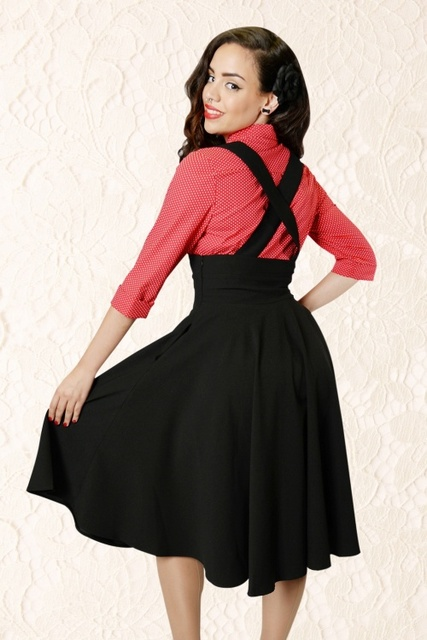 30- women vintage 50s Audrey Hepburn style black high waist swing midi suspender  skirt plus size faldas rockabilly jumper skirts 465b710f4854