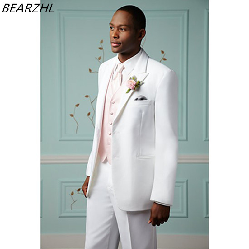 white wedding tuxedos for men suit 3 piece suits tailor 2017 fashion ...