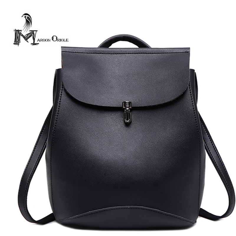 Womens pu backpack black plain simple backpack women student bag fashion leisure youth school backpack