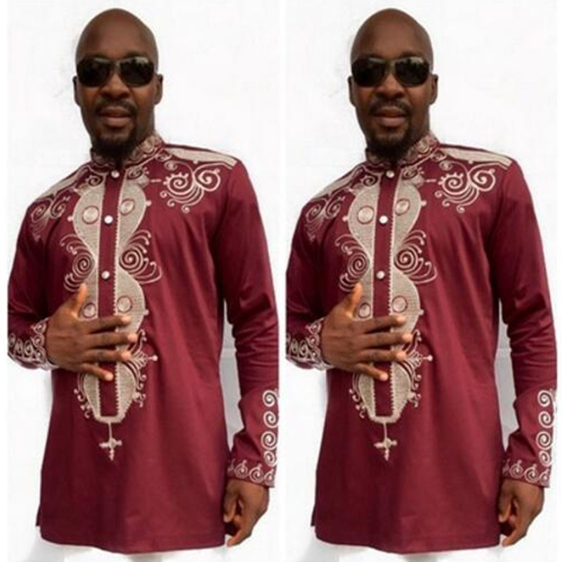 Luxury Red African Traditional Tribal Men Dress Shirt Robe Long Sleeve Dashiki Print Button Decor Shirt Tops Red Color