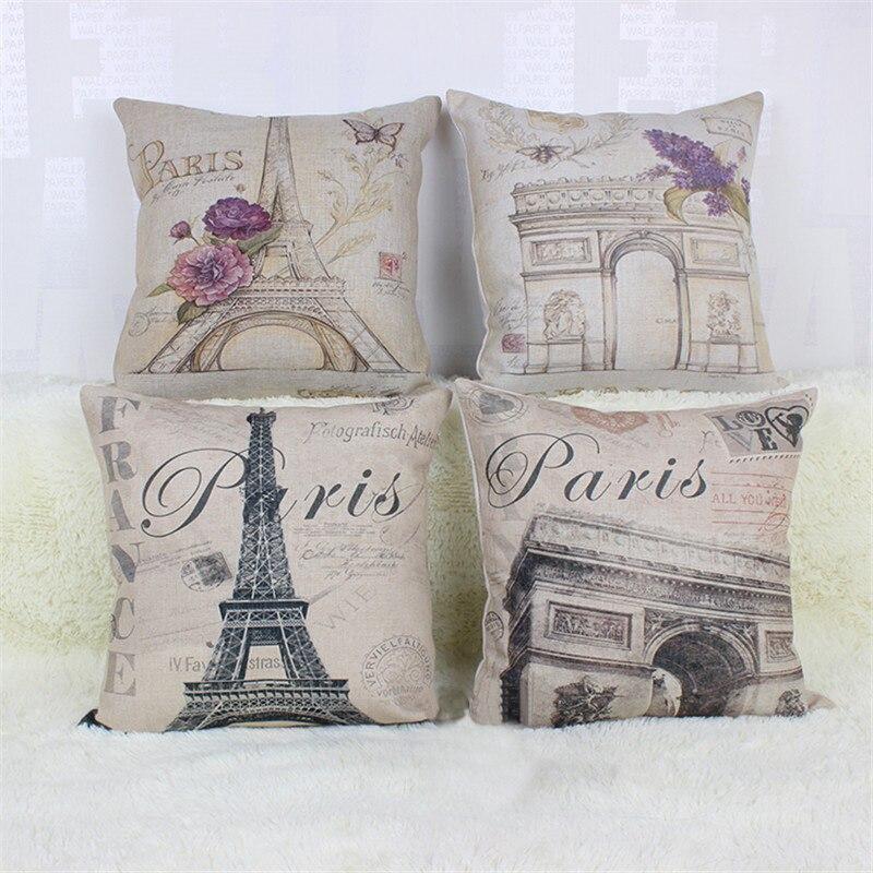 45*45cm Home Decorative Pillow Vintage Style Building Printed Throw Pillow Car Home Decor Linen ...