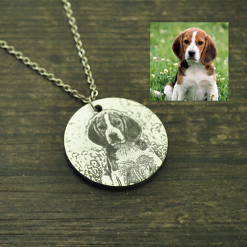 Engraved Photo Necklace,Custom Picture Necklace,Your Pet Dog pendant,Pet Memory gift