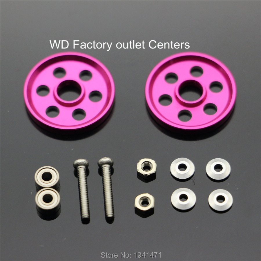 RFDTYGR Light Strong Aluminum 19mm Rollers Piezas personalizadas para Tamiya MINI 4WD 19mm Guía de aluminio coloreado: rueda D008 2 sets / lote