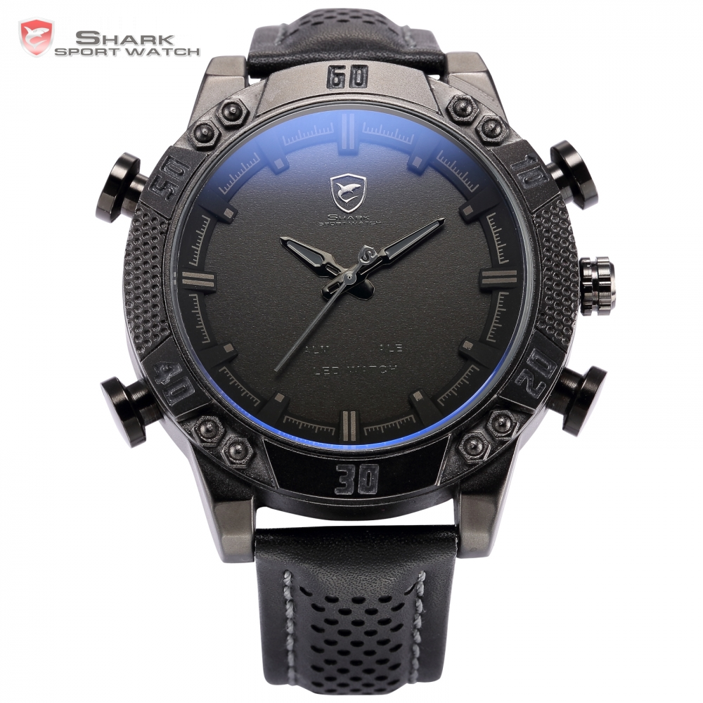 Kitefin Shark Sport Watch Relogio Dual Movement Date Day LED Display Leather Band Quartz Men Military Digital Wristwatch / SH262 shark army brand new auto date day display leather band relogio analog montre homme men quartz sport military wristwatch saw122