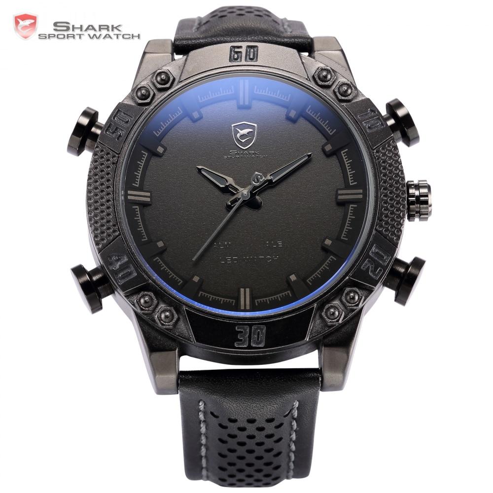 Kitefin Shark Sport Watch Relogio Dual Movement Date Day LED Display Leather Band Quartz Men Military Digital Wristwatch / SH262