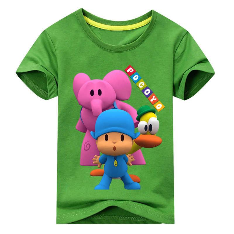 Crianças T-shirt de Manga Curta Para Meninos Roupas de Verão Das Meninas do Menino T-shirts Alice Elefante Cão Pato Pocoyo Traje Impressão tshirt top