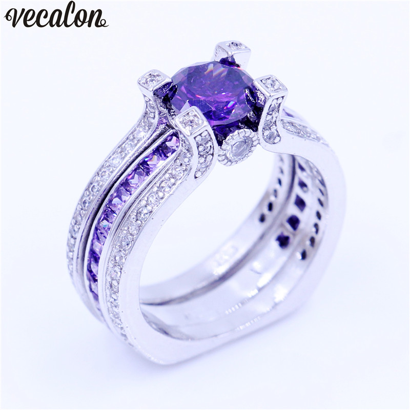 Vecalon Luxury Jewelry Female Engagement ring Purple 5A Cz 925 Sterling Silver Birthstone wedding Band ring
