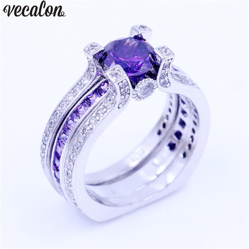5A Vecalon Jóias de Luxo Feminino anel de Noivado Roxo Cz 925 Sterling Silver Birthstone casamento da Faixa Set anel para mulheres homens