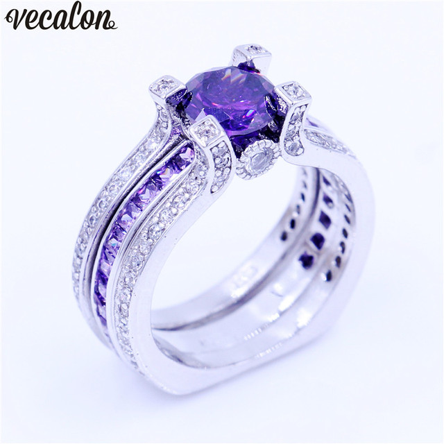 Vecalon Luxury Jewelry Female Engagement Ring Purple 5a Cz 925 Sterling Silver Birthstone Wedding Band