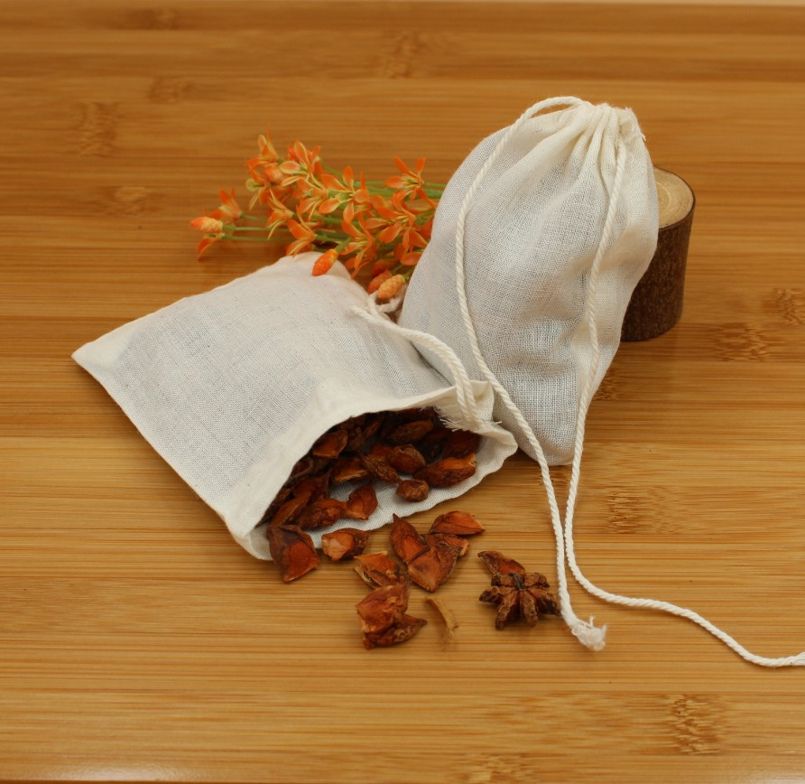 Cotton font b Drawstring b font Strainer Tea font b Bag b font Spice Food Separate