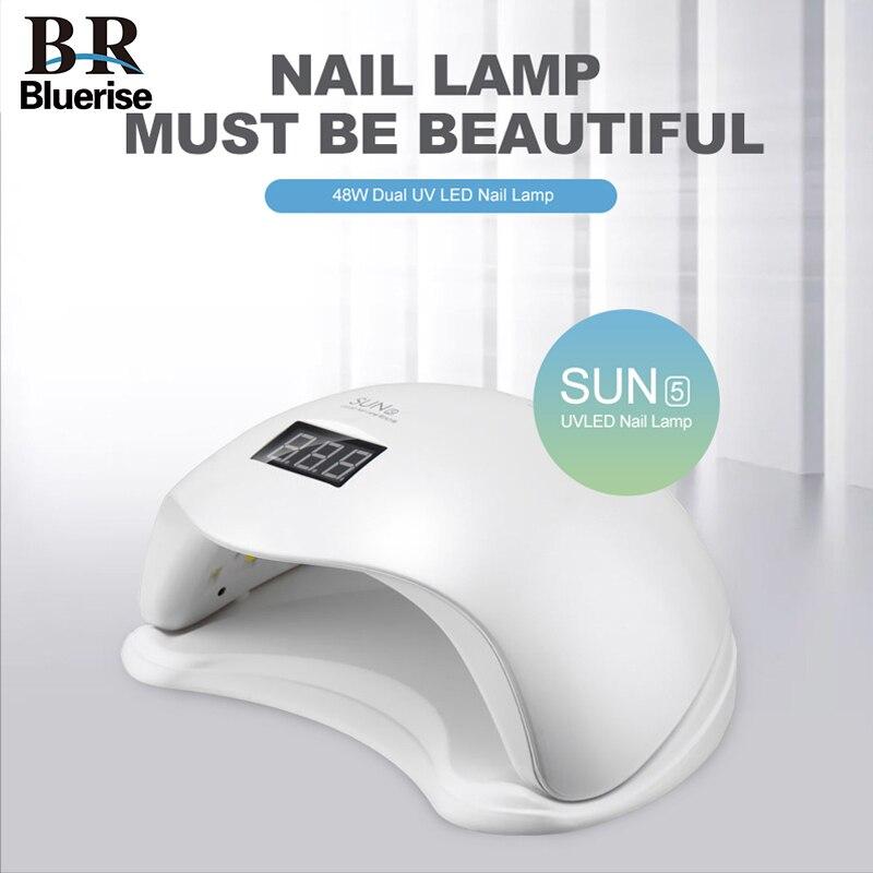 BLUERISE SUN5 UV Led Nail Lamp 48W Nail Dryer Machine Bottom 30s/60s Timer Gel Polish Curing Light For Salon Nail Art Tools