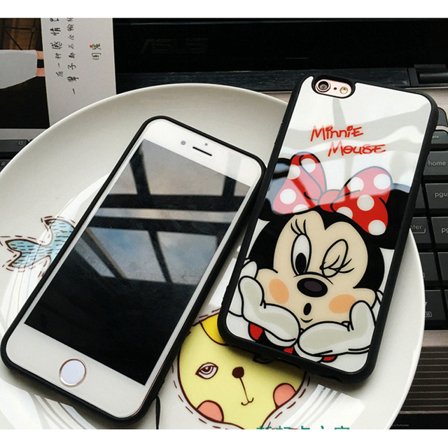 Cartoon Mickey Minnie Mouse Sweetheart Silicone Mirror Case For iphone 7 Plus 5 5s SE Cases Back Cover For iphone 6 6s 7 Plus