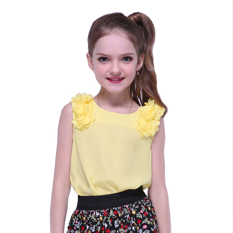 Kids Girls Shirts for Children Sleeveless Tops Baby Chiffon Shirts for Girls Summer Vest Enfant Solid Clothing 4 6 8 10 14 Years все цены