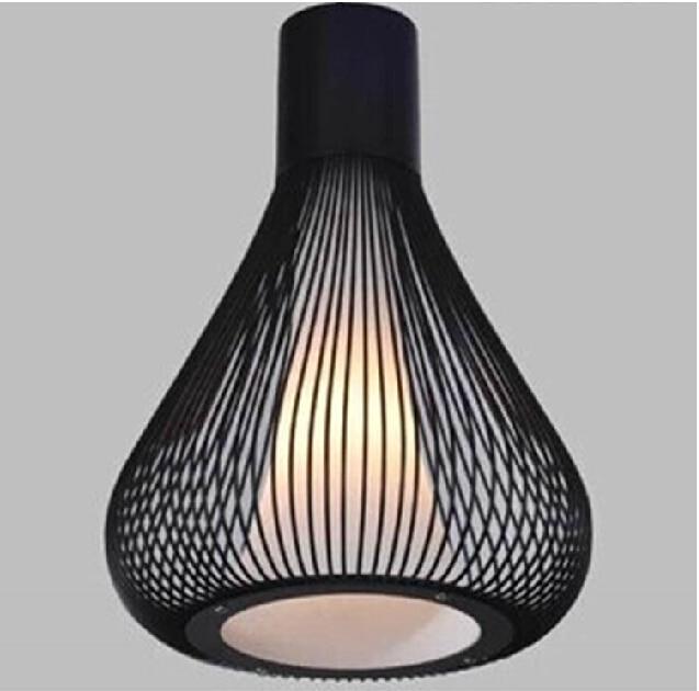Hierro forjado negro luz pendiente Italia diseño moderno Birdcage ...