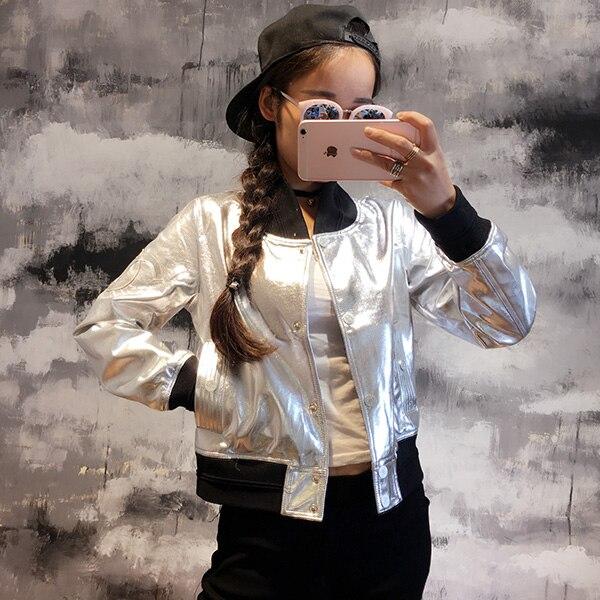Осень Серебристый Белый Блестящий Bling дизайн короткая верхняя одежда куртки бейсбольная форма кожаная одежда мотоциклетная куртка женская