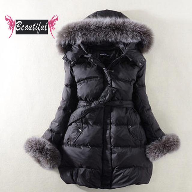 2016 chaqueta de Invierno mujeres moda delgado de manga larga de down abrigos casual cálido cuello de piel de zorro con capucha parka casacos jaqueta feminina