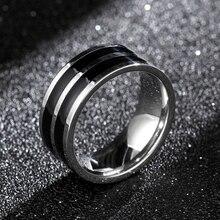 8 мм титановое кольцо для мужчин 2 черные линии центр прохладный черный широкий