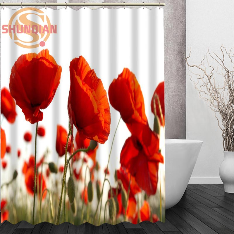 Poppies Red Flowers Shower Curtain Eco Friendly Modern Fabric Polyester Custom Bath Curtains Home Decor In From Garden On