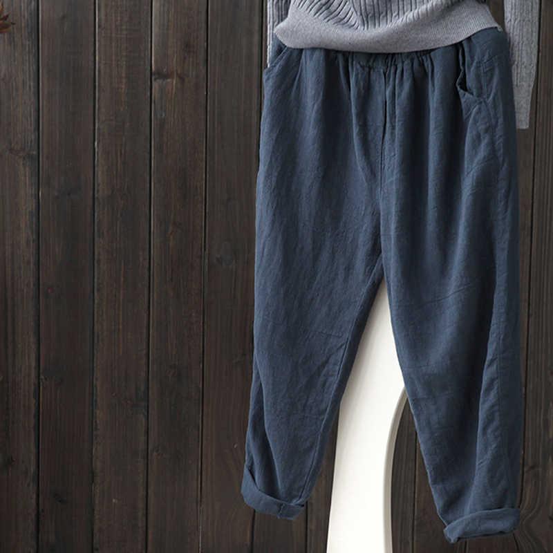 Bigsweety Baumwolle Leinen Hosen Für Frauen Vintage Frühling Herbst Neue Lose Beiläufige Hosen Frauen Lange Hosen Mode Harem Hose Femme
