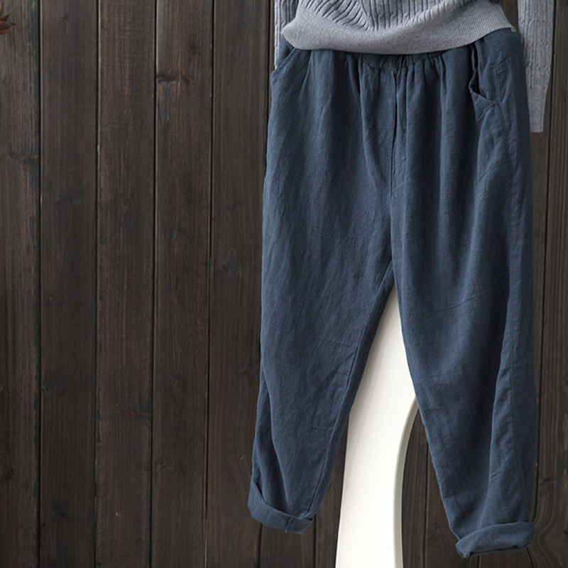 Bigsweety Cotton Linen Pants Vintage Fashion Women Spring Loose Femme Casual for Autumn title=