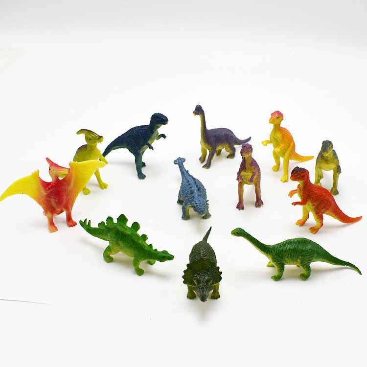 12 pçs/lote Dinossauros Modelo com 5Pcs etiquetas Bonitos Animais Figuras Presentes Meninos Brinquedos Hobbies Crianças Mini Pequeno Plástico Dinosaurus WYQ