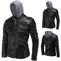 Hooded Leather Jacket Men Jaqueta De Couro Masculina PU Mens Leather Jackets Men Outwear Autumn