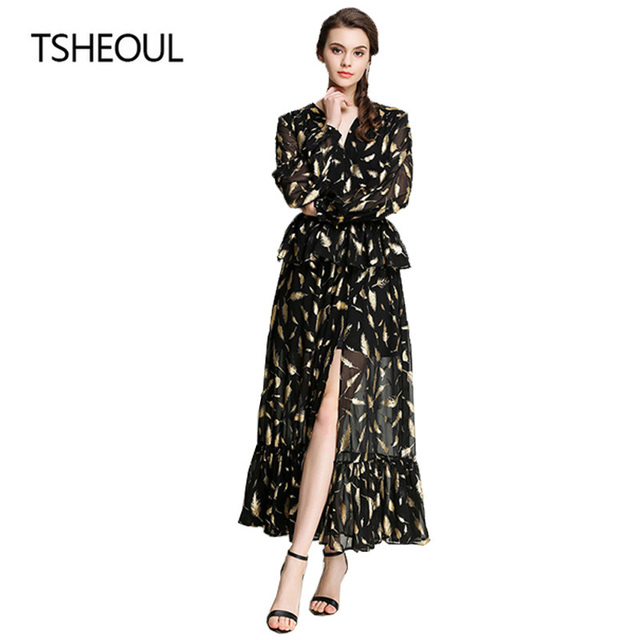 Women Sexy Printed Long Sleeve Belted Wrap Dress Deep V Neck A Line Maxi  Dress Elegant Long Sexy Dresses