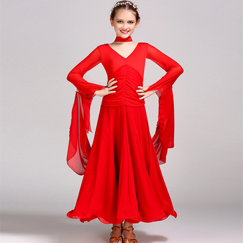 Kids Ballroom Dress Ballroom Dance Competition Dresses For Girls Modern Dance Costumes For Kids Ballroom Dancing Waltz Flamenco