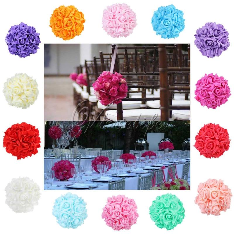 Pcs quot silk ribbon foam rose flower ball artificial
