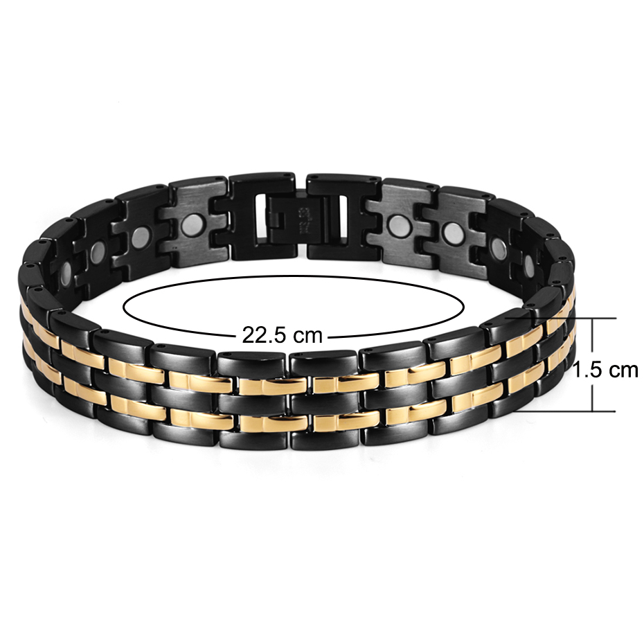 Rainso Kesehatan Magnetic Gelang Mens Rantai Tangan Gelang Hitam - Perhiasan fashion - Foto 6