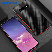 Leanonus Metal Bumper Case for Samsung Galaxy S10 Note 10 Plus Shockproof Carbon Fiber Back Cover For S10+ Fundas Coque