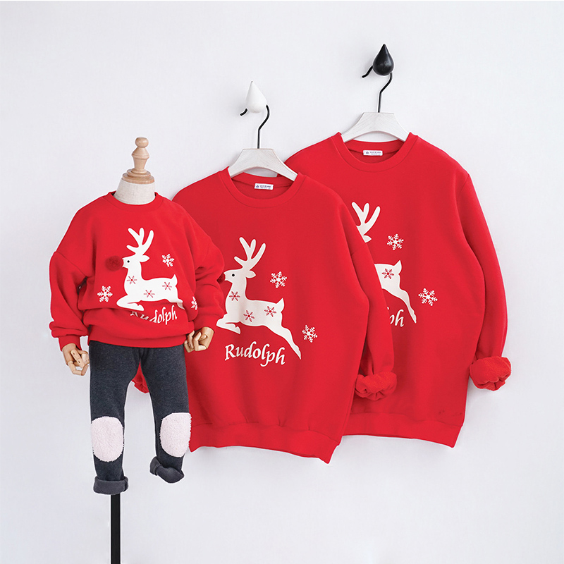 2018 Winter Christmas Clothes For Family Look Christmas Sweater With Deer Father Daughter Mother Son Outfits Wool Warm Clothes