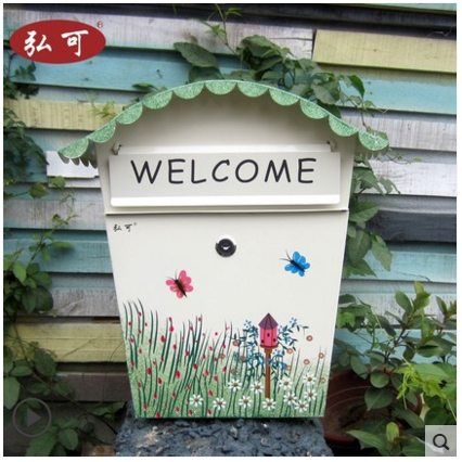 Top selling European wall Mailbox Fashion Vintage Bucket tin Newspaper box Post Letter Box Zinc Coated