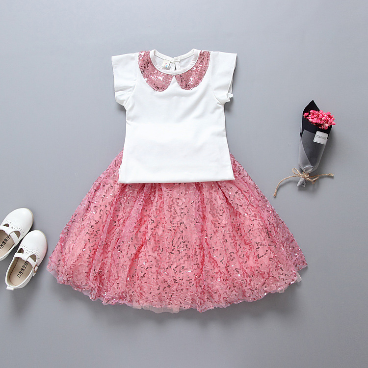 2017 hot 2pcs/set girls sequined clothing set Sweet Pink Blingbling tulle skirt sets  5sets/lot Wholesale Cotton T shirt