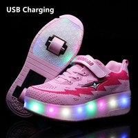 Dwa koła USB ładowania trampki czerwona dioda led buty rolki dla dzieci dzieci buty led chłopcy dziewczęta buty zapalić Unisex w Trampki od Matka i dzieci na