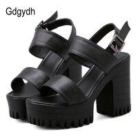 Gdgydh Block Heels Summer Sandals Woman Classics Casual Shoes Ankle Strap Platform Sandals Women 2019 New Summer Black White