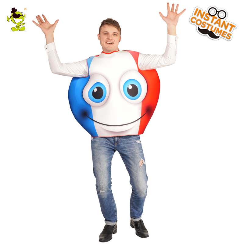 Unisex Adult Emoticon France Smiling Face Costumes Imitation Carnival Party Role Play National Flag Emoji Outfits