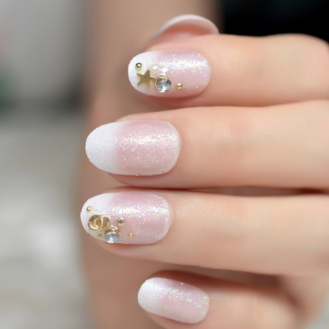 3d Star Ring Iridescent Colorful Glitter French False Fake Nails Tip