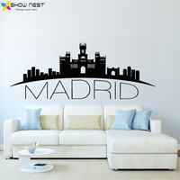 Spain Madrid Skyline Wall Decal City Silhouette Vinyl Stickers Living Room Bedroom Kitchen Wall Art Murals