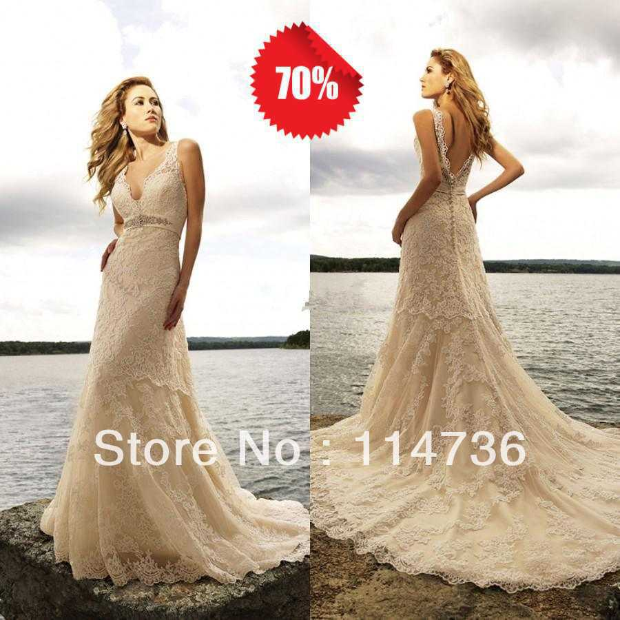 2017 Hot Old Fashioned Lace Vintage Wedding Dresses V Neck A Line Chapel Train Backless On Champagne Y In From Weddings