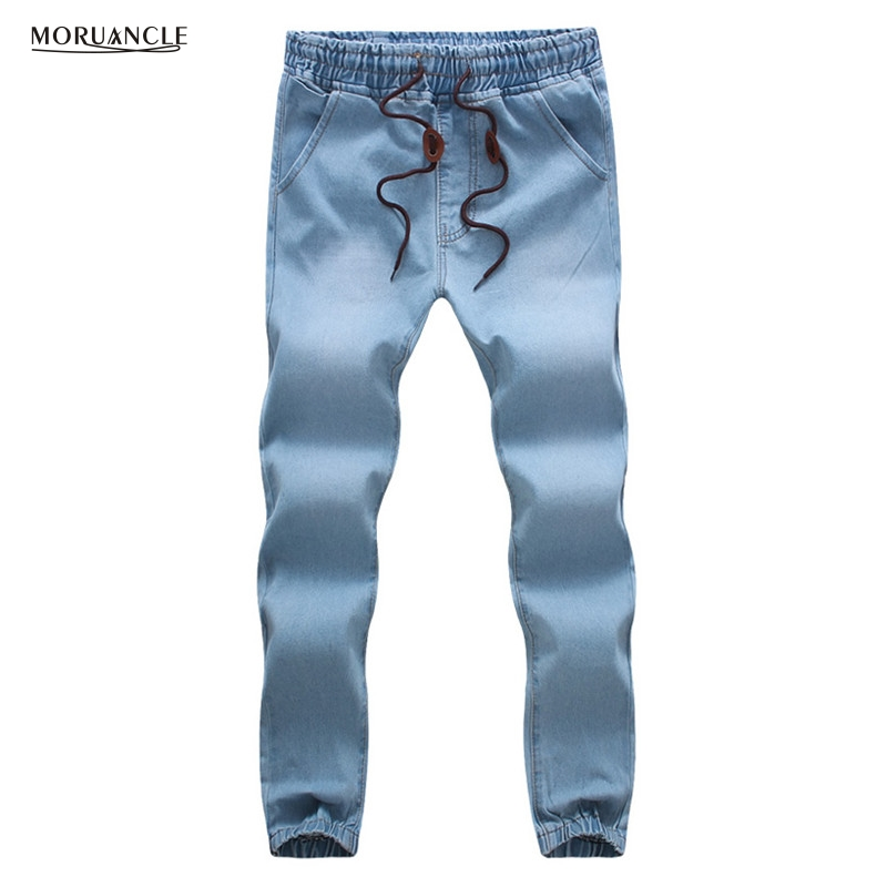 MORUANCLE Fashion Mens Jeans Pants Drawstring Denim Joggers For Male Elastic Waist Cuff  ...