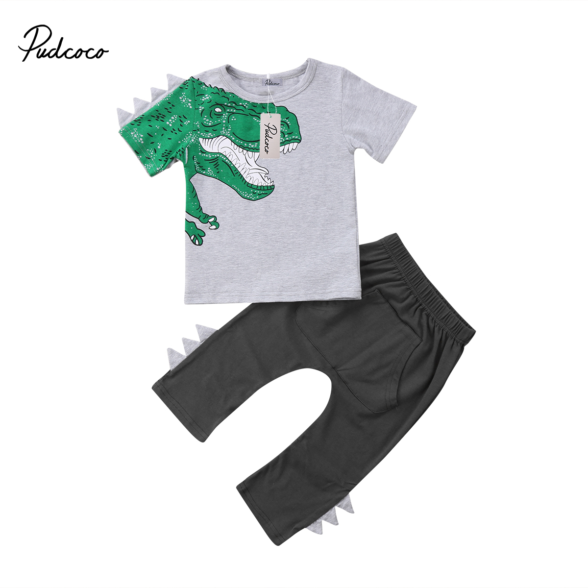 2018 Brand New Toddler Infant Child Kids Baby Boy Dinosaur Short Sleeve Tops Shirt Pants 2Pcs Sets Cartoon Outfits Clothes 1-5T 2pcs toddler kids baby boy clothes sets t shirt tops short sleeve pants harem outfits set cotton clothing baby boys 1 6t