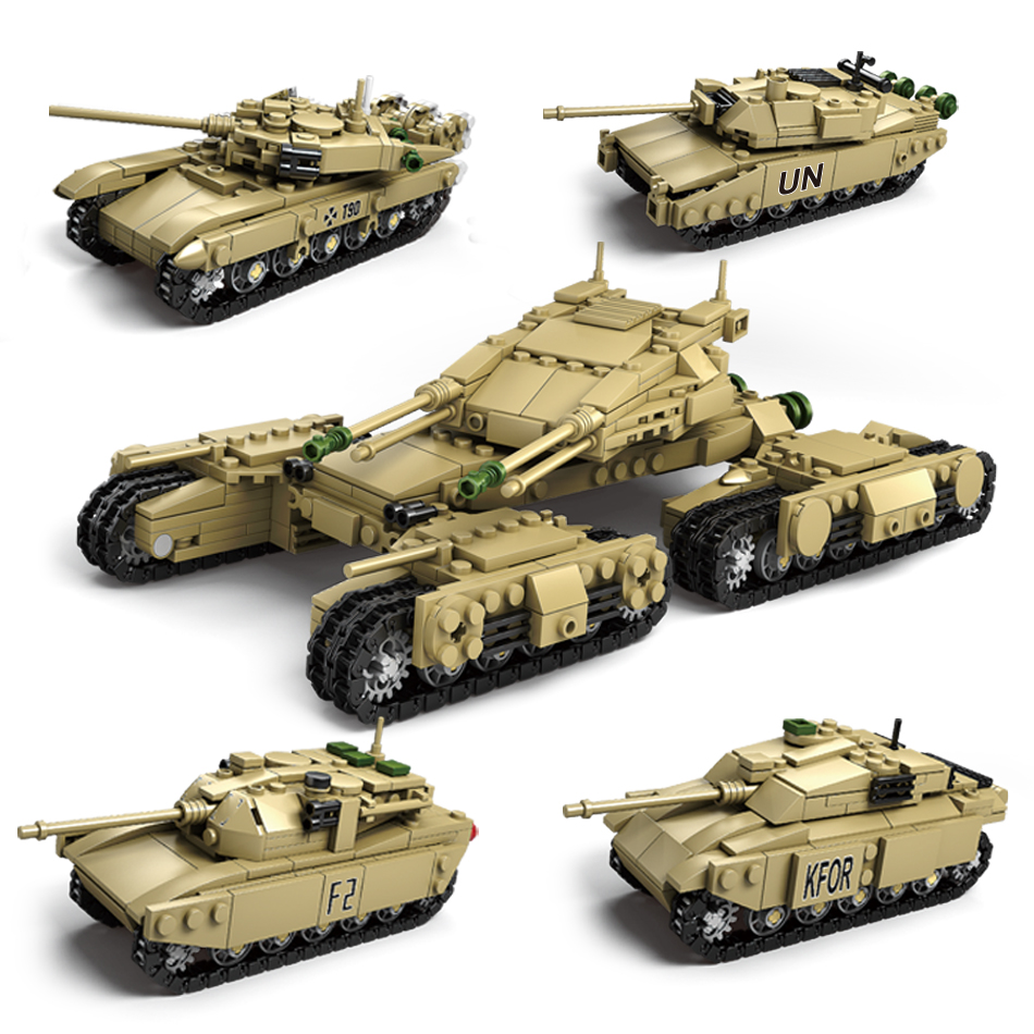 цена на 1242pcs Army Model Tanks 4 In 1 Assemblage Building Blocks Set Compatible Legoed military weapon tank DIY Bricks Children Toys