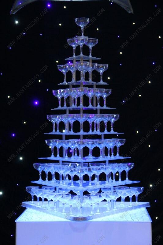 Семь ярусов arcrylic Пирамида бокалов для шампанского акриловый Кубок/чашка/красный бокал/Пирамида бокалов для шампанского для свадьбы/вечерн