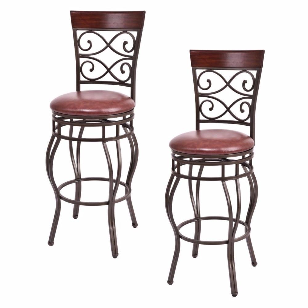Giantex Set Of 2 Vintage Bar Stools Swivel Padded Seat Bistro Dining Kitchen Pub Chair Bar Furniture HW54103
