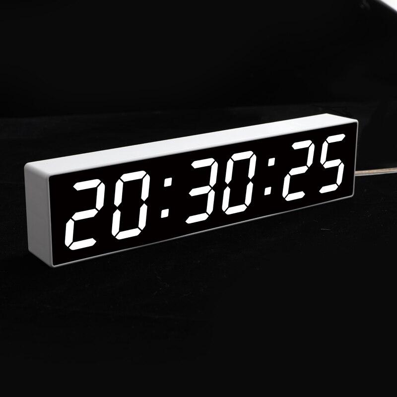 Large Screen Calendar Temperature Display Digital Alarm Clock LCD Big Mirror Snooze Silent Night Light Electronic Desktop Clock Alarm Clocks    - AliExpress