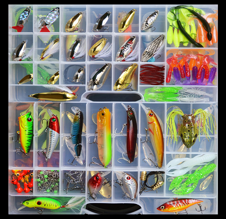 168 pieces bait lures suit freshwater sea shipping sequined suit Minuo Bo grilled soft insects Lure Fishing Tackle Ray frog