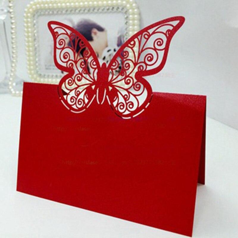 100 шт., бумажная огранка, бабочка лазер, вырезание, место, карты, имя, таблица, знак, свадьба, вечеринка, украшение, приглашения любезности - Цвет: Red