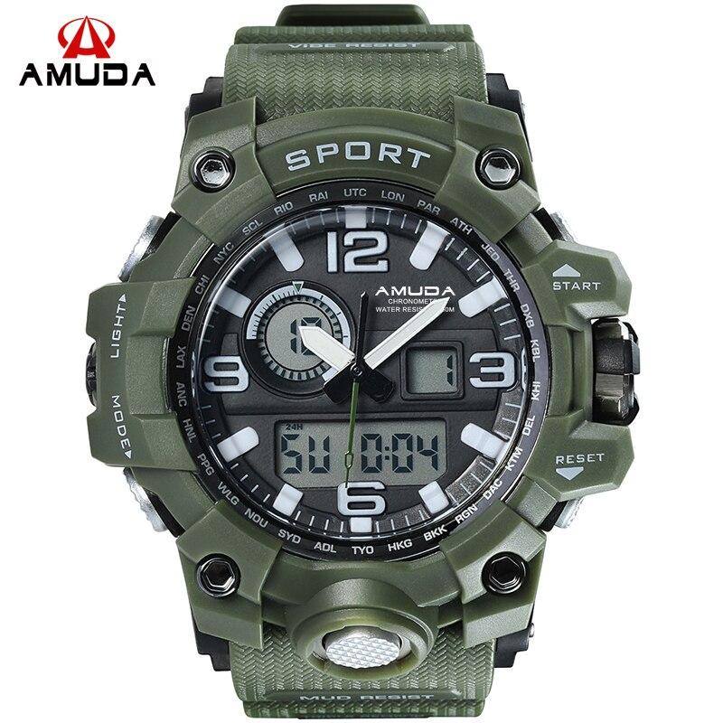 Männer Military Uhr 50 mt Wasserdichte Armbanduhr LED Quarz Sport Uhr Männlichen relogios masculino 1545 s Schock Uhr Männer (niedrigsten preis